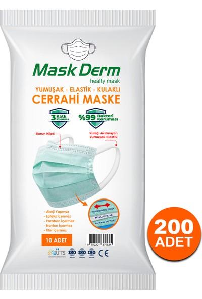 Maskderm Cerrahi Maske Yumuşak Elastik Kullaklı Filtreli Hijyen Paket 200 Adet - Yeşil