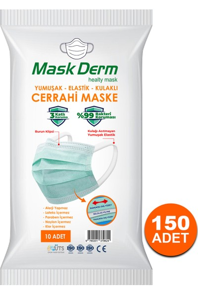 Maskderm Cerrahi Maske Yumuşak Elastik Kullaklı Filtreli Hijyen Paket 150 Adet - Mavi