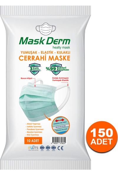 Maskderm Cerrahi Maske Yumuşak Elastik Kullaklı Filtreli Hijyen Paket 150 Adet - Yeşil