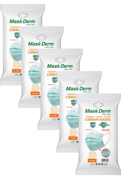 Maskderm Cerrahi Maske Yumuşak Elastik Kullaklı Filtreli Hijyen Paket 50 Adet - Yeşil