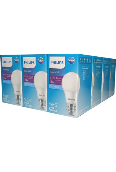 Philips 12'li 8W Beyaz Işık LED Ampul