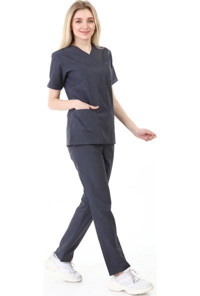 Palmiye Üniforma Zarf Yaka Füme Rengi Hemşire Takımı