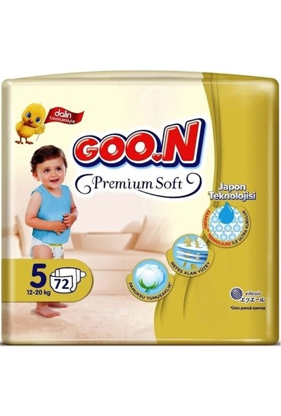 Goon Premium Soft 5 Numara Bebek Bezi 12-20 kg Jumbo Paket 72 Adet