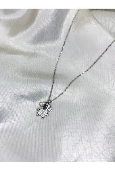 Selens Swarovski Kız Bebek Anne Bebek Gümüş Kolyesi