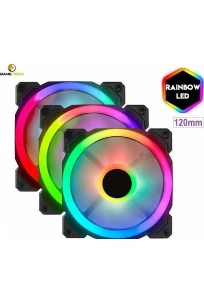 Gametech 8r Plus 4lü Paket 7renk 1200RPM Sessiz 12CM LED Fan