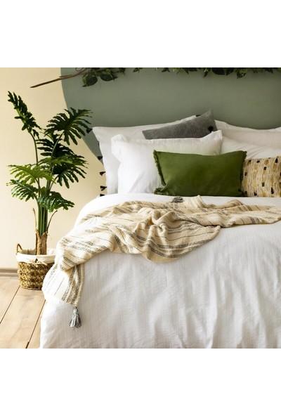Bella Maison %100 Pamuk Arno Çift Kişilik Nevresim Beyaz 200X220 cm