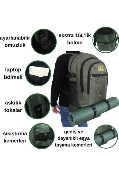 Baggor 90 Litre Körüklü Su Geçirmez Çok Gözlü Laptop Bölmeli Kampçı-Seyahat-Dağcı Sırt Çantası