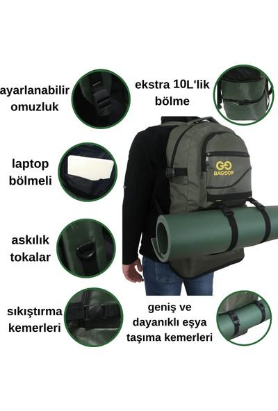 Baggor 65 Litre Körüklü Su Geçirmez Çok Gözlü Laptop Bölmeli Kampçı-Seyahat-Dağcı Sırt Çantası