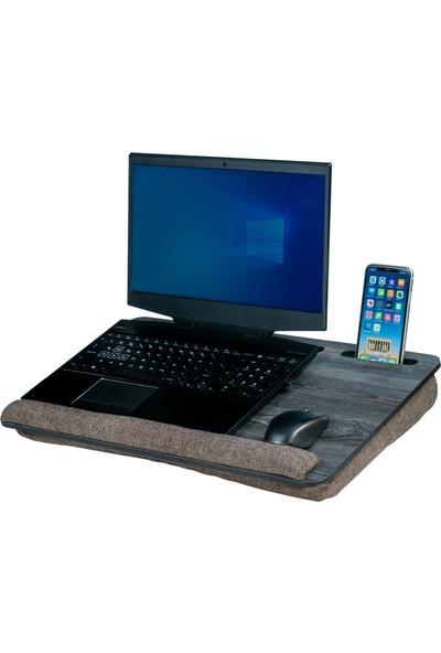 """Vigo Wood Minderli Laptop Sehpası 15.6"""" ve 17.3"""" Taşınabilir Notebook, Tablet ve Telefon Bölmeli Masa"""