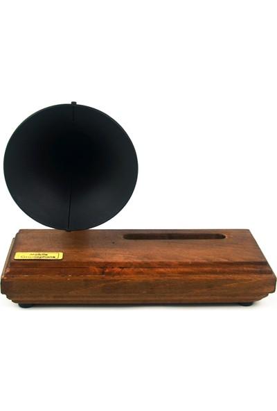Bayz Telefon Sesini Yükselten Akustik Dekoratik Klasik Siyah Gramafon
