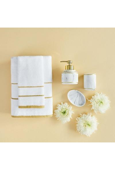 Bella Maison Minho Beyaz - Hardal Havlu Seti 2′li (40X60 ve 70X150 Cm)