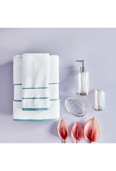 Bella Maison Minho Beyaz - Indigo Havlu Seti 2'li (40X60 ve 70X150 Cm)