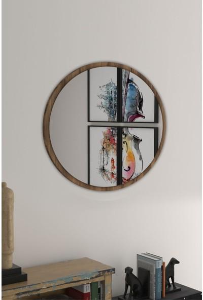 Bluecape Yuvarlak Ceviz Duvar Salon Ofis Aynası