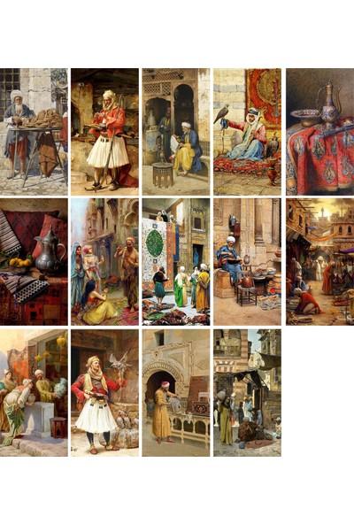 Tellgraf Osmanlı Dönemi Yağlı Boya Tablo Görünümlü Kartpostal Set 8 x 15 cm