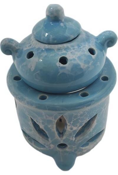 Mogan Çömlekçilik Mavi Mermer Desen Seramik Demlik Buhurdanlık