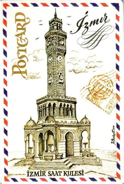Sanatsal Tasarım Kartpostal İzmir Saat Kulesi