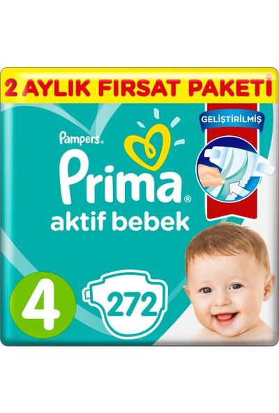 Prima Aktif Bebek Bezi 4 Beden 272'li 2 Aylık Fırsat Paketi 9-15 Kg