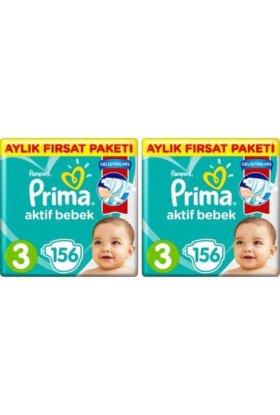 Prima Aktif Bebek Bezi 3 Beden 312'li 2 Aylık Fırsat Paketi 6-10 Kg