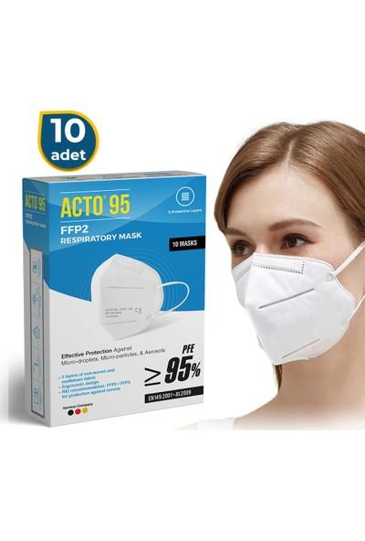 Acto Acto® 95 Ffp2 / N95 Respiratory Mask | 5 Katlı Solunum Maskesi 10 Adet