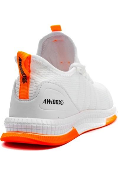 Awidox Unisex Beyaz Turuncu Rahat Taban Spor Sneaker