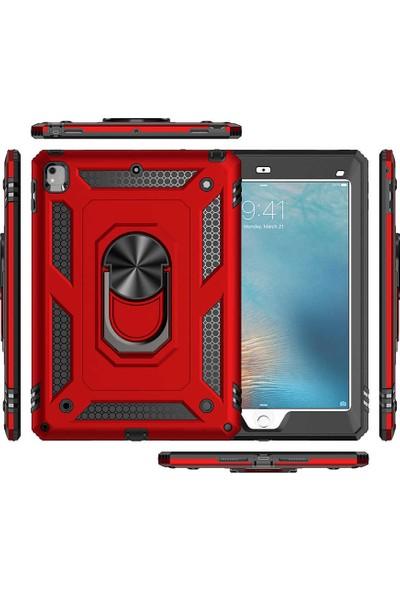 Fibaks Apple iPad 5. Nesil 9.7 Kılıf + Kalem Military Armor Case 360 Derece Tam Koruma Tank Zırh Yüzüklü Standlı Vega Siyah