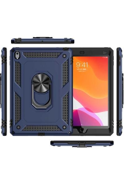 Fibaks Apple iPad Air 3 10.5 Kılıf + Ekran Koruyucu + Kalem Military Armor Case 360 Derece Tam Koruma Tank Zırh Yüzüklü Standlı Vega Lacivert