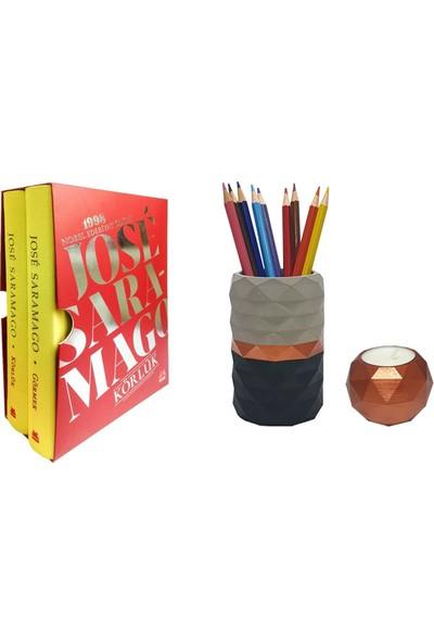 Körlük – Görmek (Özel Baskı Kutulu Set) / Jose Saramago + Betonsu Tasarım Beton Kalemlik + Geometrik Model Beton Tealight Mumluk (Bakır Renk)
