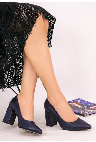 7erbilden Sest Lacivert Cilt Topuklu Ayakkabı