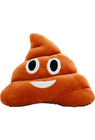 Xolo Kahverengi Gülen Poo Emoji Yastık Peluş Dekoratif Oyuncak Yastık