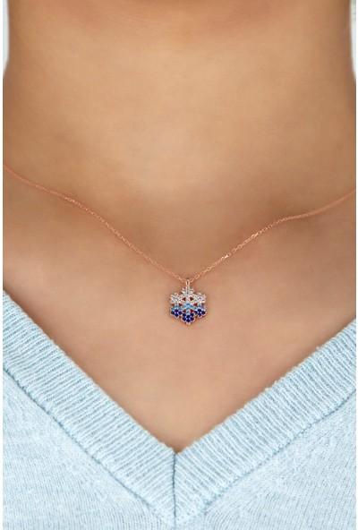 Bess Silver 925 Ayar Gümüş Mavi Taşlı Rose Kar Tanesi Kolye
