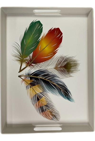 Ledshop Kuş Tüyü Desenli Tepsi