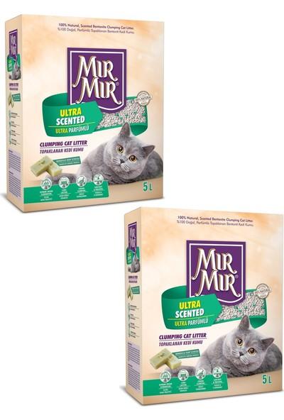 Mır Mır Bentonit Ultra Parfümlü (Marsilya Sabun Kokulu)Kedi Kumu 5 Lt * 2 Adet
