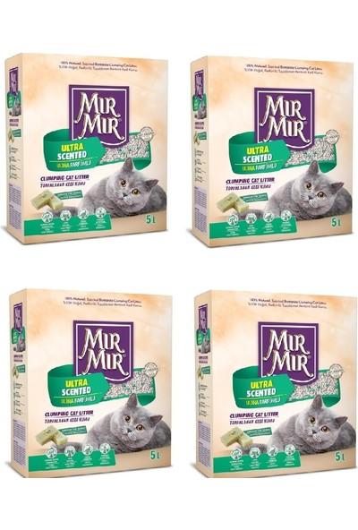 Mır Mır Bentonit Ultra Parfümlü (Marsilya Sabun Kokulu)Kedi Kumu 5 Lt * 4 Adet