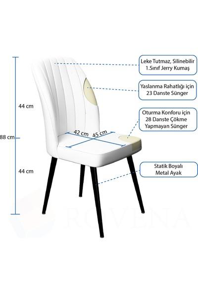 Rovena Riva Serisi Geniş Oturum Alanlı Sandalye, Siyah Metal Ayaklı