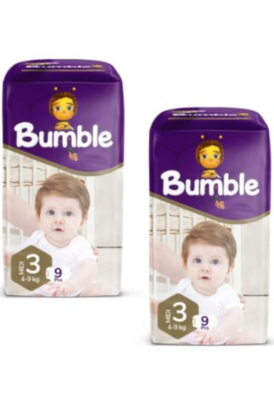 Bumble Bebek Bezi 3 Numara Midi 9 Li (4-9 Kg) Deneme Paketi 2'li