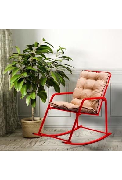 Retodesign Minderli Kırmızı Metal Sallanan Sandalye/ Bebek Emzirme Koltuğu/baba Koltuğu