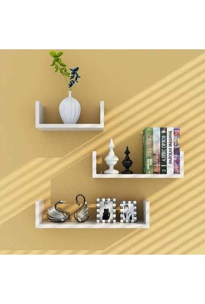 Bayz Beyaz 3' Lü Uçan Duvar Rafı Dekoratif Kitaplık Aksesuar Rafı Çeyiz Ev Dekorasyon