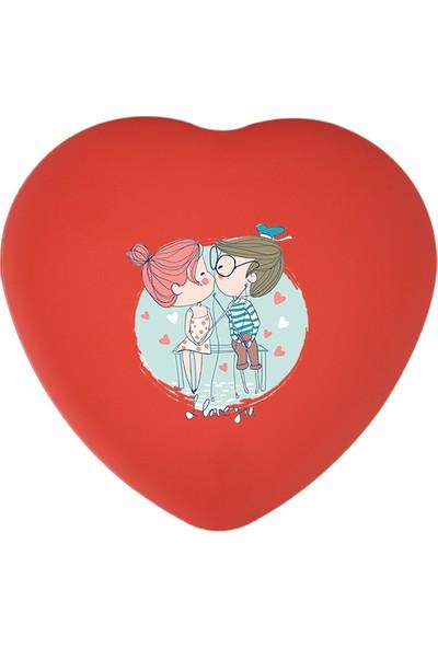 Sonar Karikatürlü Aşk Çocuğu Kalpli Metal Kutu