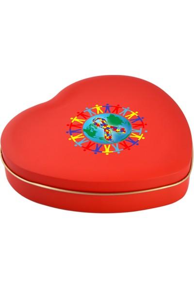 Sonar Dünya Otizm Farkındalık Günü Kırmızı Kalpli Metal Kutu