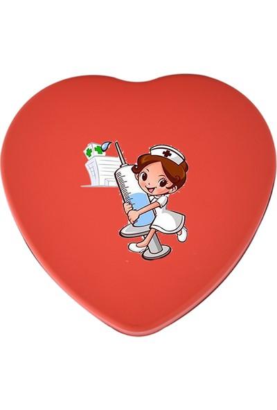 Sonar Hemşireler Günü Hediyelik Kırmızı Metal Kalp Kutu
