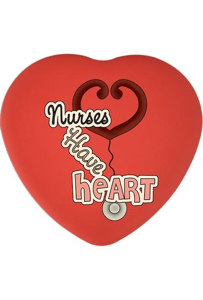 Sonar Hemşireler Haftası Hediyelik Kırmızı Kalp Metal Kutu