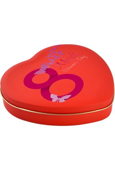Sonar 8 Mart Dünya Kadınlar Günü Hediye Kırmızı Kalpli Metal Kutu