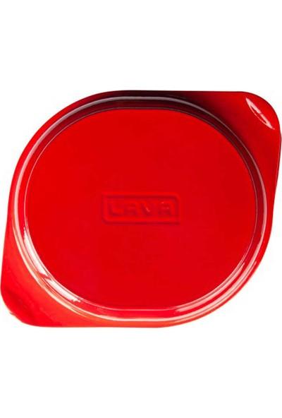 Lava Kulplu Döküm Yuvarlak Kek Pasta Ekmek Kalıbı Kırmızı 24X27 Cm