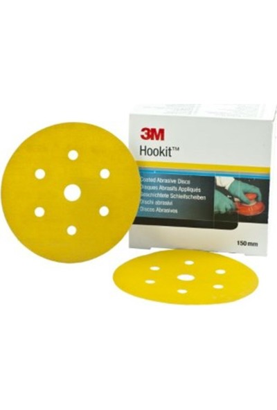 3m 80356 255P P100 Sarı 7 Delikli Disk Zımpara 150 mm 100 'lü