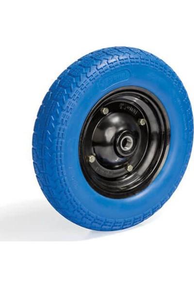 Yenal El Arabası Tekeri Pu Lastik Patlamaz Mavi Iaraba Lastiği 350X7