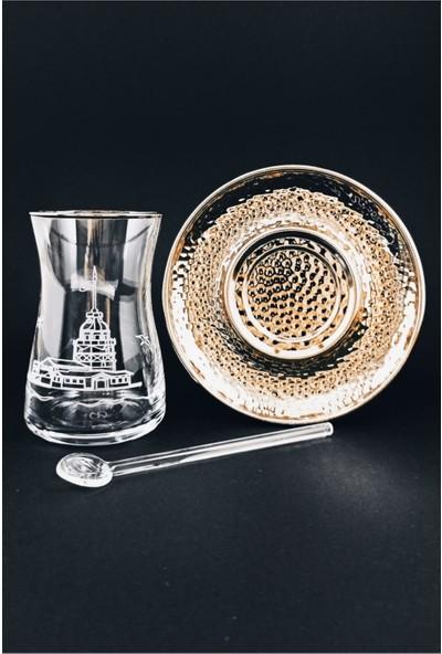 Kardeşler Pazarlama 18 Parça El Işçiliği Kız Kulesi Collection Çay Bardağı Takımı Seti