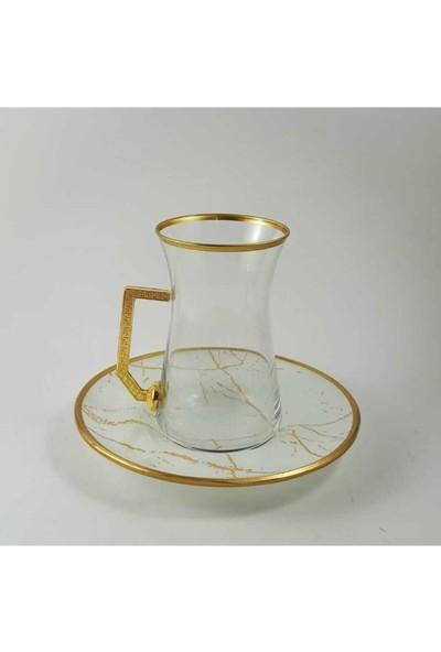 Kardeşler Pazarlama 12 Parça Beyaz Mermer Desen Çay Takımı Seti