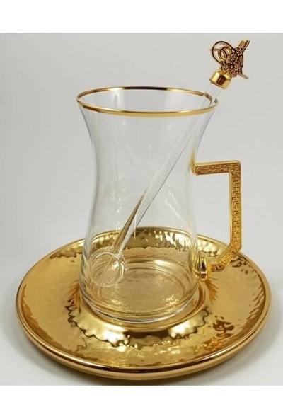 Kardeşler Pazarlama 18 Parça Altın Tuğra Armalı Çay Seti Takımı