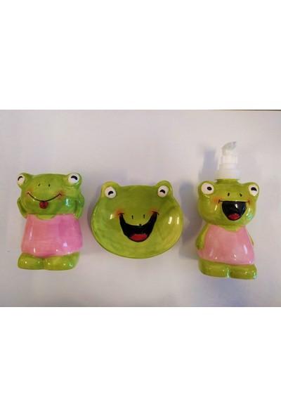 Yamamiya Çocuklar Için Sevimli Hayvanlar Banyo Seti Sabunluk, Diş Fırçalık Kaplan
