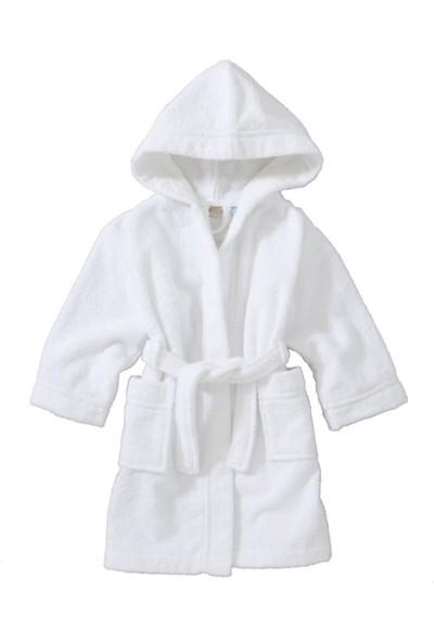 Bol Ticaret Tekstil Kapşonlu Beyaz Çocuk Bornozu %100 Pamuk Gramajlı, Adet Ağırlık 620 gr 660 gr Arası